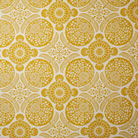 Mustard Medallion Print on Offwhite Cotton Twill Fabric By The Yard - Wide shot