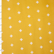 White Plus Signs on Mustard Cotton Twill Fabric By The Yard