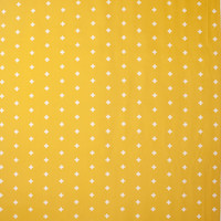 White Plus Signs on Mustard Cotton Twill Fabric By The Yard - Wide shot