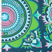 Lime and Pink Medallion Print on Navy Cotton Twill Fabric By The Yard