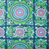 Lime and Pink Medallion Print on Navy Cotton Twill Fabric By The Yard - Wide shot