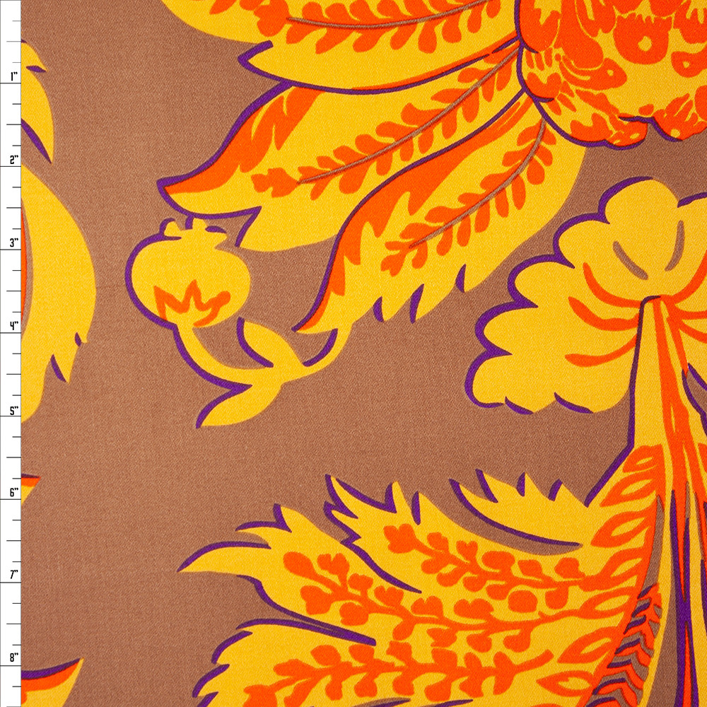 Yellow and Orange Floral Print on Tan Cotton Twill Fabric By The Yard