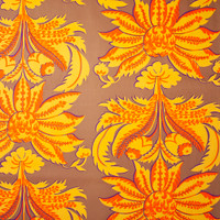 Yellow and Orange Floral Print on Tan Cotton Twill Fabric By The Yard - Wide shot
