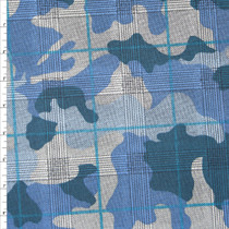 Blue Camouflage Houndstooth Plaid Stretch Cotton Twill Fabric By The Yard
