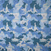 Blue Camouflage Houndstooth Plaid Stretch Cotton Twill Fabric By The Yard - Wide shot