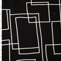 White on Black Geometric Midweight Canvas Print Fabric By The Yard