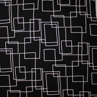 White on Black Geometric Midweight Canvas Print Fabric By The Yard - Wide shot