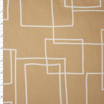 White on Tan Geometric Midweight Canvas Print Fabric By The Yard