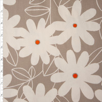 White Daisies with Orange Centers on Tan Midweight Canvas Print Fabric By The Yard