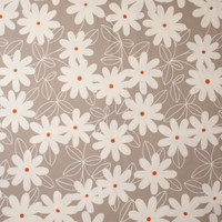 White Daisies with Orange Centers on Tan Midweight Canvas Print Fabric By The Yard - Wide shot