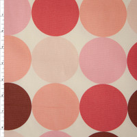 Large Dots in Shades of Pink on Offwhite Midweight Canvas Print Fabric By The Yard