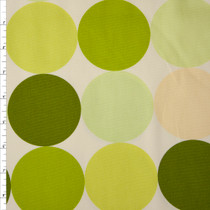Large Dots in Shades of Green and Yellow on Offwhite Midweight Canvas Print Fabric By The Yard
