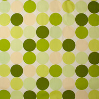 Large Dots in Shades of Green and Yellow on Offwhite Midweight Canvas Print Fabric By The Yard - Wide shot
