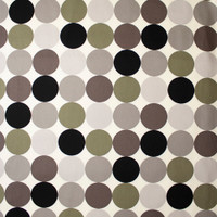 Large Dots in Shades of Grey and Olive on Offwhite Midweight Canvas Print Fabric By The Yard - Wide shot