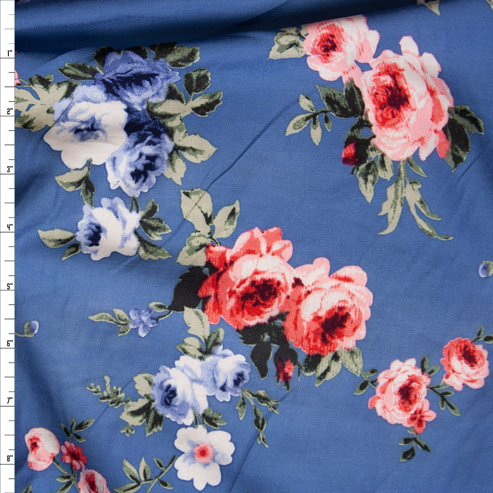 Cali Fabrics Pink And Blue Rose Floral On Light Blue Rayon Challis
