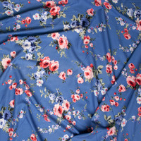 Pink and Blue Rose Floral on Light Blue Rayon Challis Fabric By The Yard - Wide shot