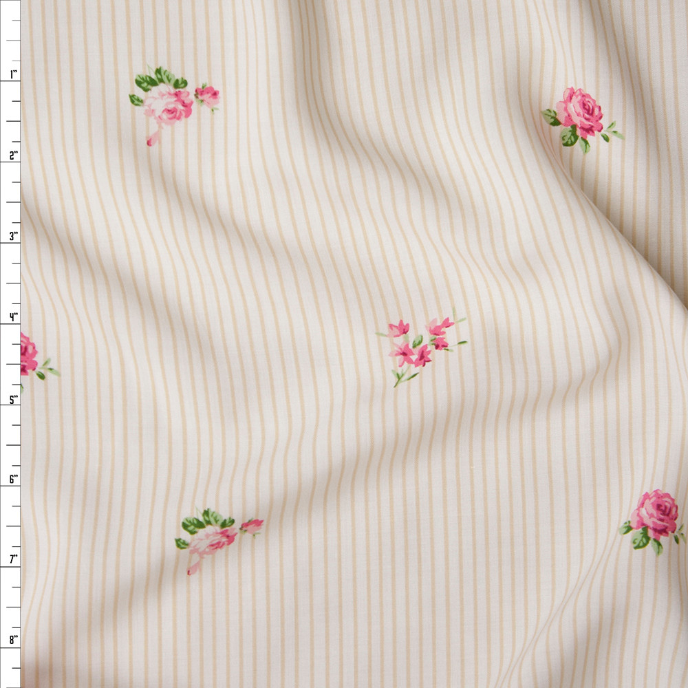 Pink and Green Rose Floral on Tan and Offwhite Pinstripes Rayon Challis Fabric By The Yard