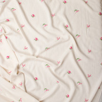 Pink and Green Rose Floral on Tan and Offwhite Pinstripes Rayon Challis Fabric By The Yard - Wide shot