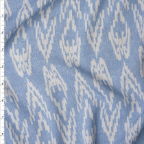 White Ikat Diamonds on Light Blue Denim Like Texture Rayon Gauze Fabric By The Yard