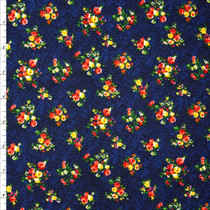 Red and Yellow Floral on Navy Liverpool Knit Fabric By The Yard