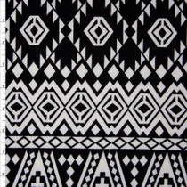White on Black Tribal Liverpool Knit Fabric By The Yard