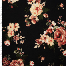 Mauve and Peach Floral on Black Double Brushed Poly Fabric By The Yard