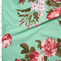 Pink, Lilac, and Brown Rose Floral on Mint Green Double Brushed Poly Spandex Fabric By The Yard