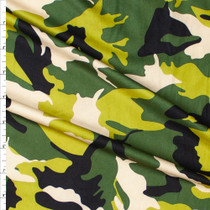 Olive, Lime, Black, and Ivory Camouflage Double Brushed Poly Spandex Fabric By The Yard