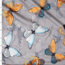Yellow and Aqua Butterflies on Grey Double Brushed Poly Spandex Fabric By The Yard