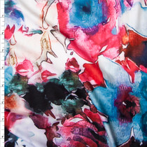 Pink, Red, and Turquoise on Offwhite Large Floral Double Brushed Poly Spandex Fabric By The Yard
