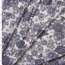 Grey Antique Floral on White Double Brushed Poly Spandex Fabric By The Yard