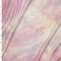 Pastel Pink, Yellow, and Lavender Tie Dye Stretch Rayon Jersey Fabric By The Yard