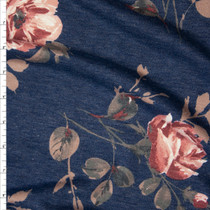 Mauve and Tan Floral on Slate Blue Heather Lightweight French Terry Fabric By The Yard