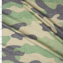 Classic Muted Camouflage Heather Lightweight French Terry Fabric By The Yard