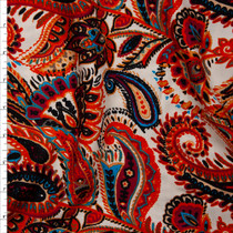 Orange, Wine, Turquoise, and Black Paisley Print on Ivory Rayon Challis Fabric By The Yard