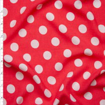 White on Hot Pink Polka Dot Rayon Challis Fabric By The Yard