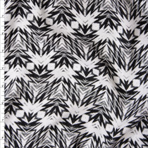 Black and White Kaleidoscope Geometric Print Rayon Challis Fabric By The Yard