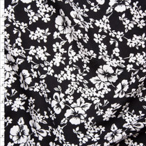 White on Black Island Floral Rayon Challis Fabric By The Yard