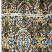 Olive, Offwhite, Yellow, Orange, and Blue Ornate Print Rayon Challis Fabric By The Yard