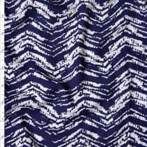 Navy and White Horizontal Grunge Chevron Rayon Challis Fabric By The Yard