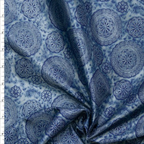 Navy Medallions on Light Blue MIdweight Poly Lining Fabric By The Yard