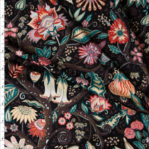 Brown, Emerald, and Pink Tree Floral on Black Nylon/Spandex Print Fabric By The Yard