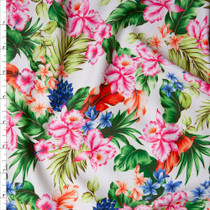 Pink, Orange, Blue, and Green Tropical Flowers and Leaves on White Nylon/Spandex Print Fabric By The Yard