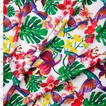 Green, Red, Yellow, and Purple Island Foliage and Hummingbirds Nylon/Spandex Print Fabric By The Yard