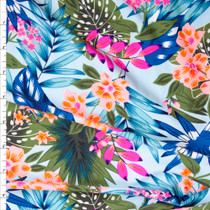 Green, Orange, Blue, Hot Pink, and Teal Tropical Flora on Aqua Nylon/Spandex Print Fabric By The Yard
