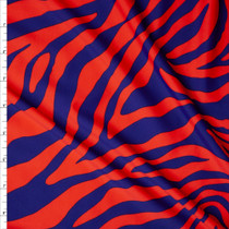Red and Blue Tiger Print Nylon/Spandex Print Fabric By The Yard