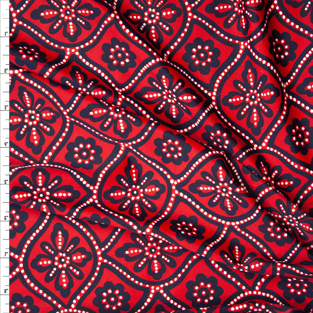 cali fabrics red black and white ornate floral nylon spandex print