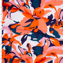 Orange and Teal Camo Look Tropical Floral Nylon/Spandex Print Fabric By The Yard