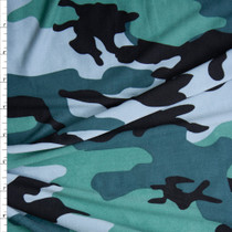 Teal, Olive, Powder Blue, and Black Camouflage Print Double Brushed Poly Spandex Fabric By The Yard
