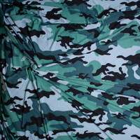 Teal, Olive, Powder Blue, and Black Camouflage Print Double Brushed Poly Spandex Fabric By The Yard - Wide shot
